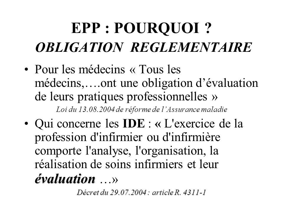 EPP : POURQUOI OBLIGATION REGLEMENTAIRE