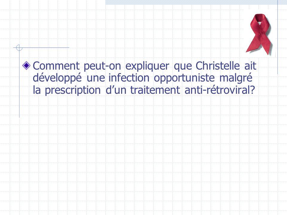 Comment peut-on expliquer que Christelle ait développé une infection opportuniste malgré la prescription d'un traitement anti-rétroviral