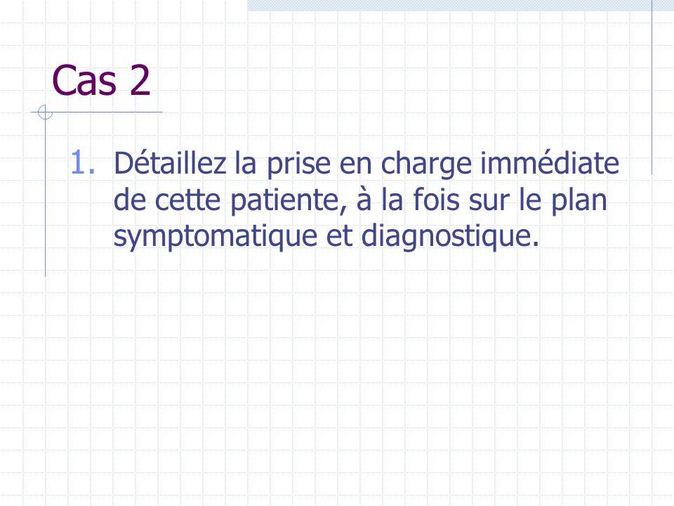 Cas 2 Détaillez la prise en charge immédiate de cette patiente, à la fois sur le plan symptomatique et diagnostique.
