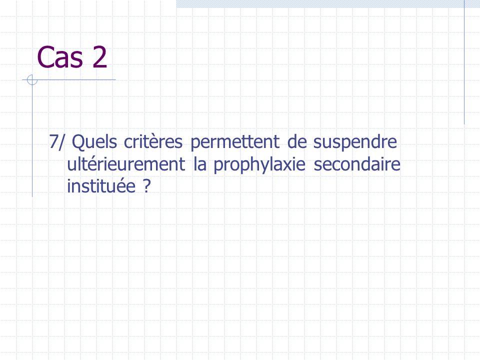 Cas 2 7/ Quels critères permettent de suspendre ultérieurement la prophylaxie secondaire instituée