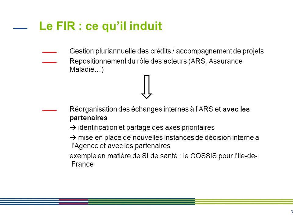Le FIR : ce qu'il induit Gestion pluriannuelle des crédits / accompagnement de projets.