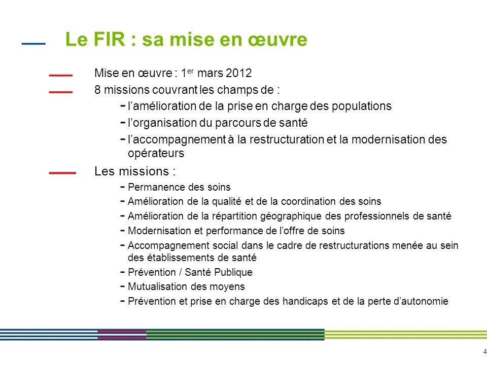 Le FIR : sa mise en œuvre Les missions : Mise en œuvre : 1er mars 2012