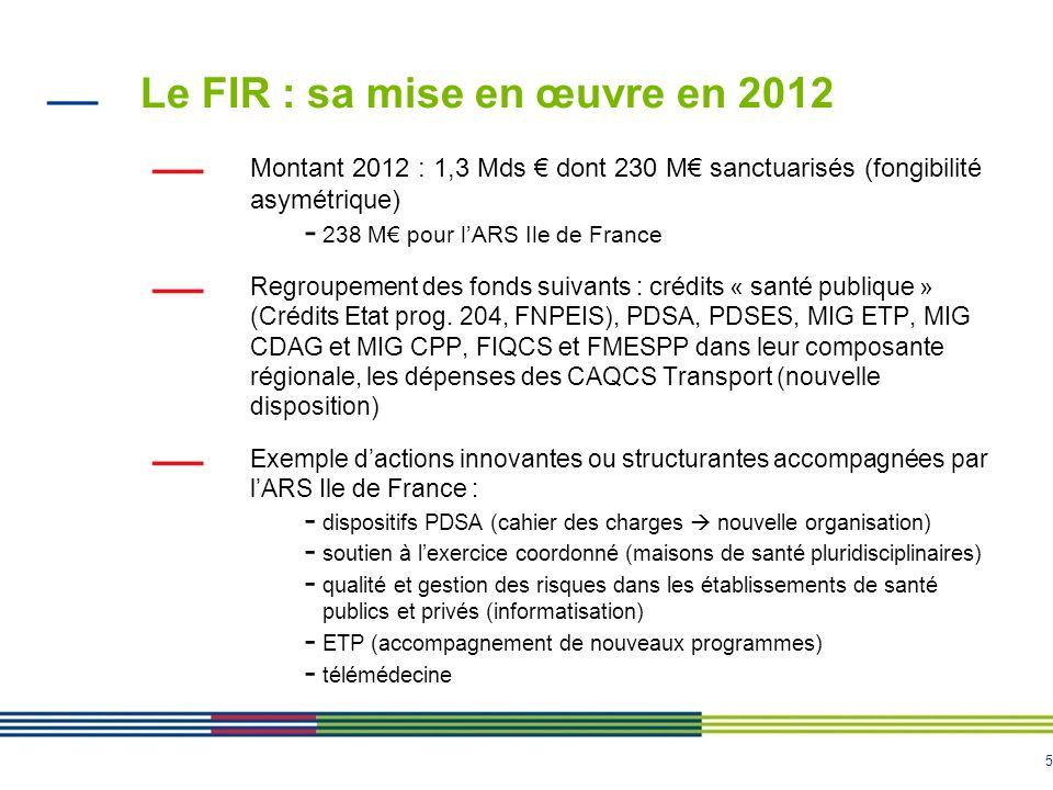 Le FIR : sa mise en œuvre en 2012