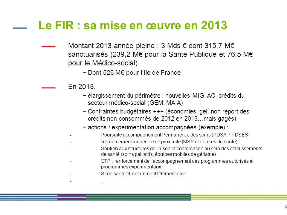 Le FIR : sa mise en œuvre en 2013