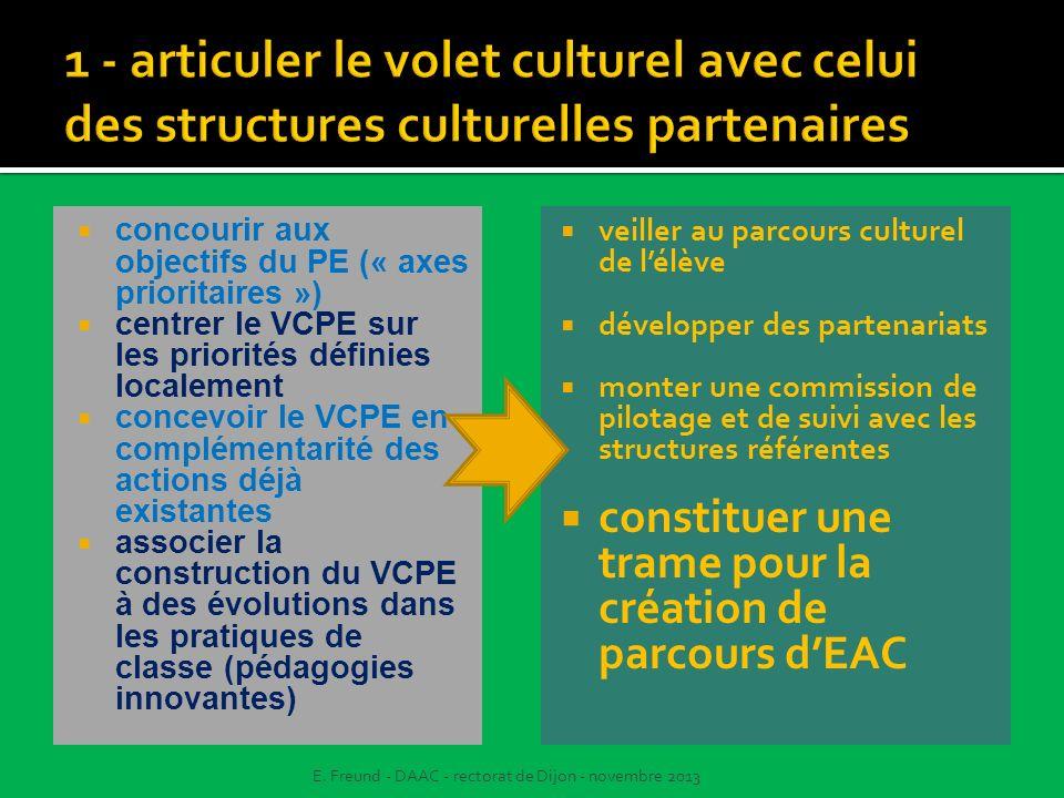 1 - articuler le volet culturel avec celui des structures culturelles partenaires