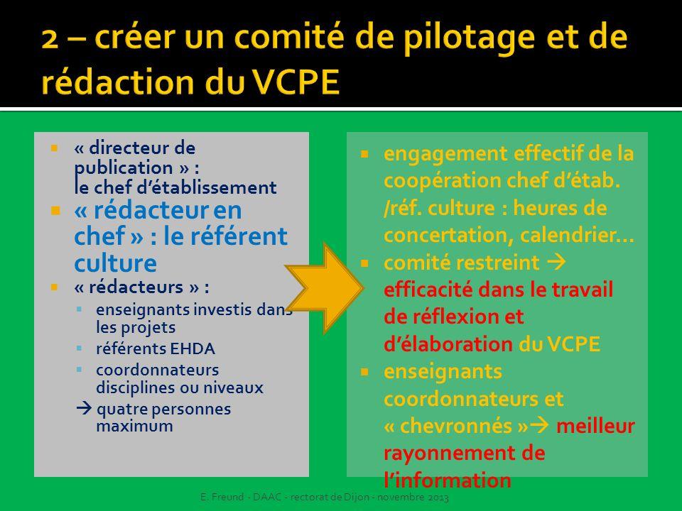 2 – créer un comité de pilotage et de rédaction du VCPE