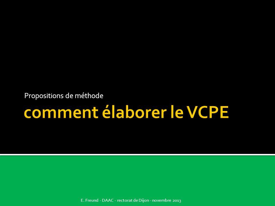 comment élaborer le VCPE