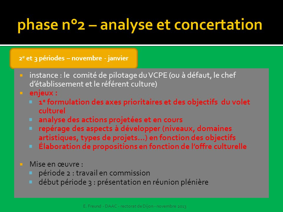 phase n°2 – analyse et concertation