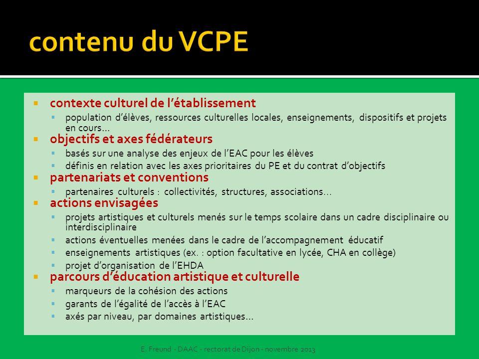 contenu du VCPE contexte culturel de l'établissement