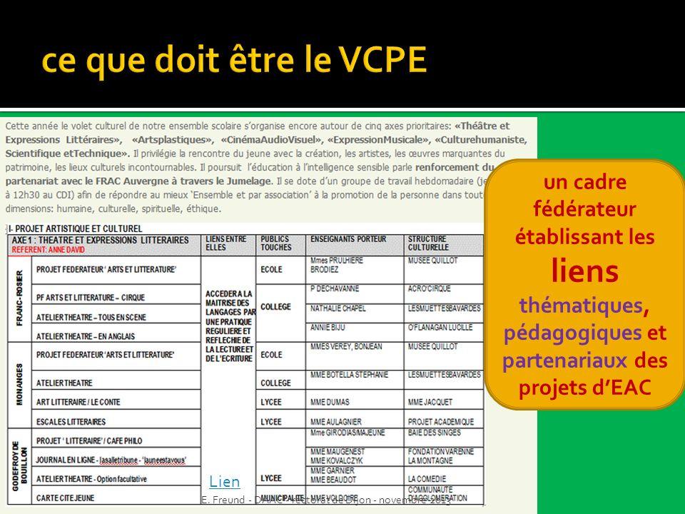 ce que doit être le VCPE un cadre fédérateur établissant les liens thématiques, pédagogiques et partenariaux des projets d'EAC.