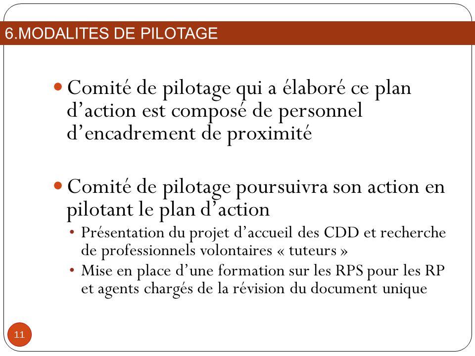 Comité de pilotage poursuivra son action en pilotant le plan d'action