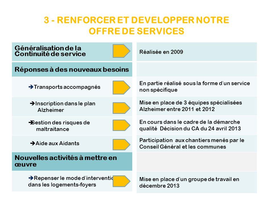 3 - RENFORCER ET DEVELOPPER NOTRE OFFRE DE SERVICES