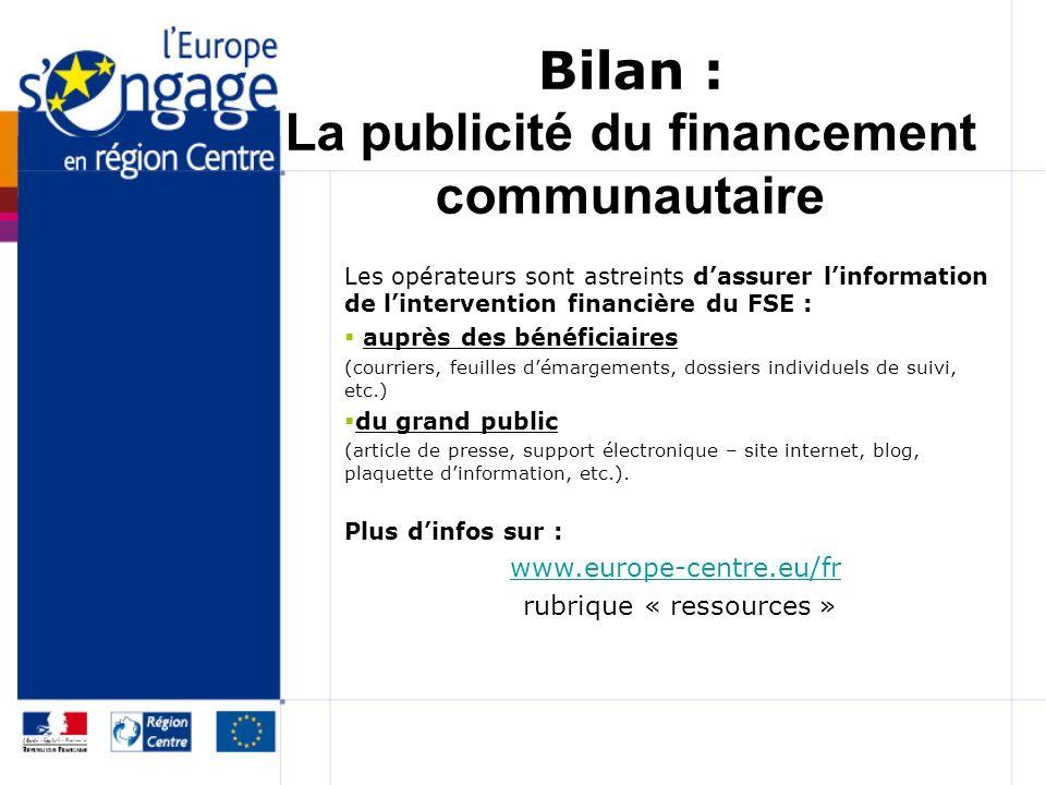 Bilan : La publicité du financement communautaire