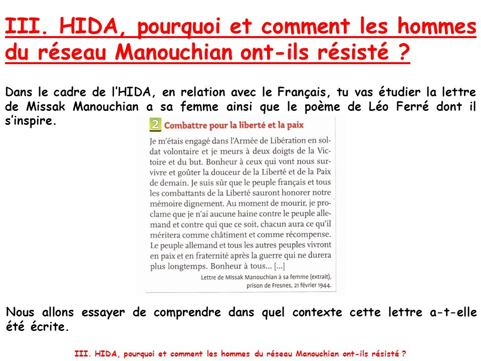 III. HIDA, pourquoi et comment les hommes du réseau Manouchian ont-ils résisté