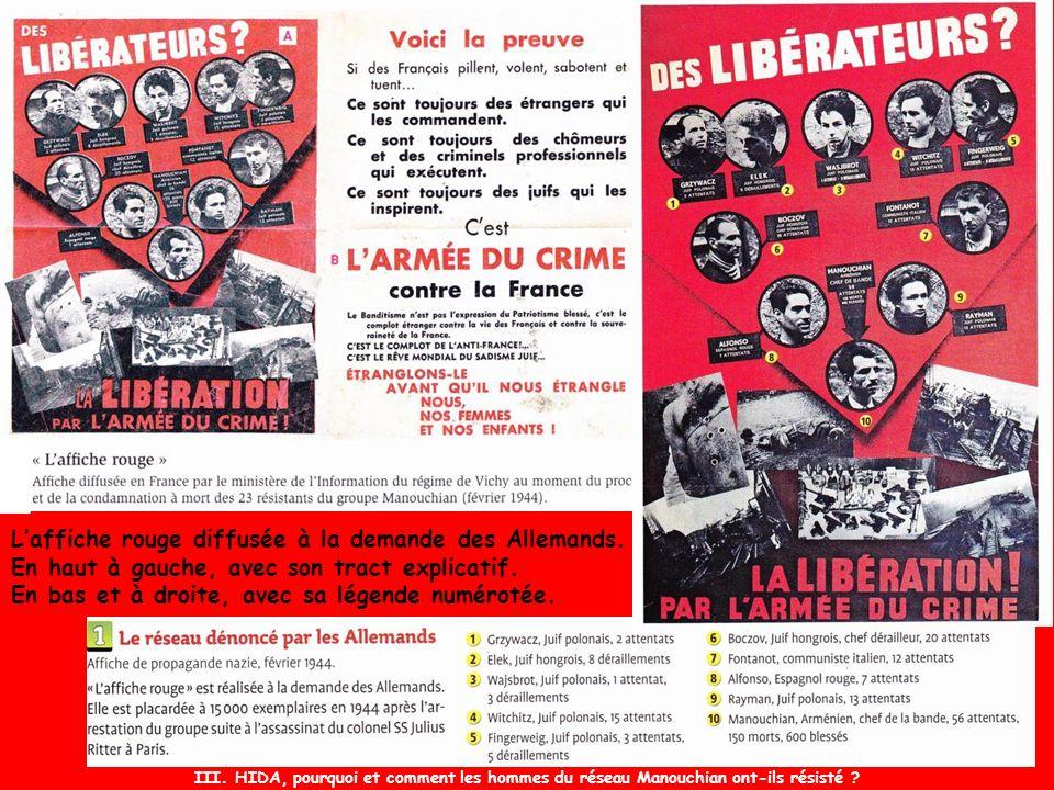 L'affiche rouge diffusée à la demande des Allemands.