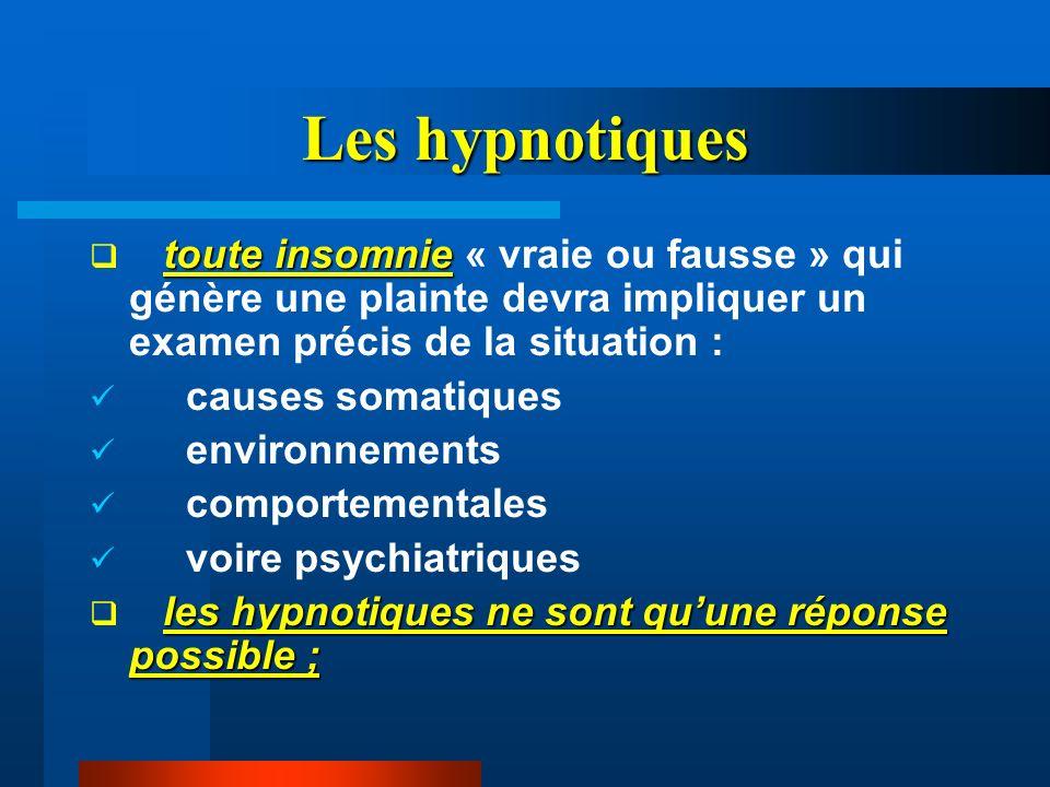 Les hypnotiques toute insomnie « vraie ou fausse » qui génère une plainte devra impliquer un examen précis de la situation :