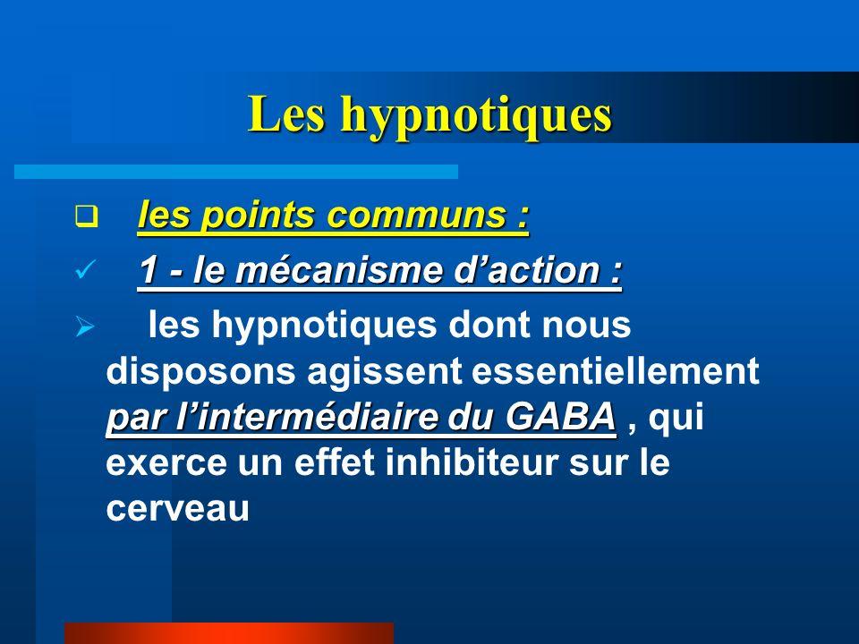 Les hypnotiques les points communs : 1 - le mécanisme d'action :