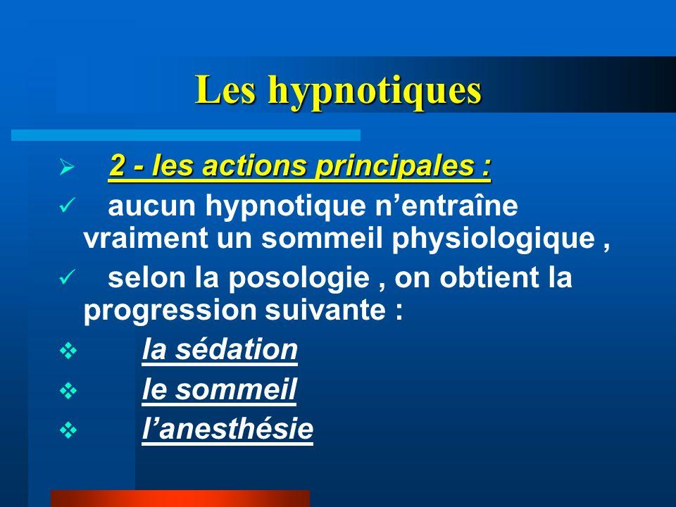 Les hypnotiques 2 - les actions principales :
