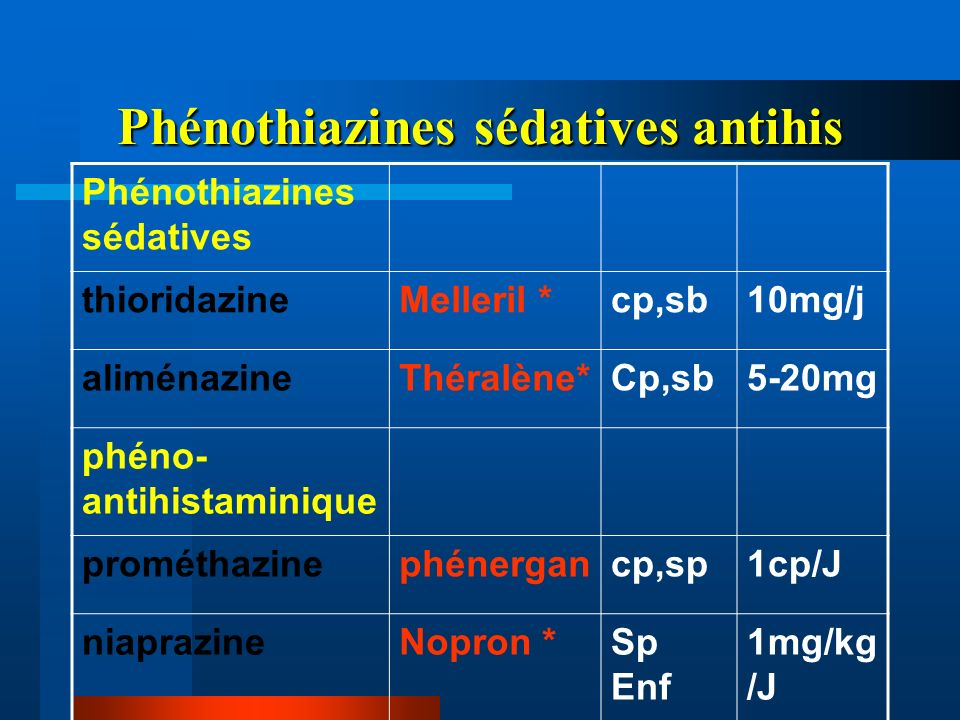 Phénothiazines sédatives antihis