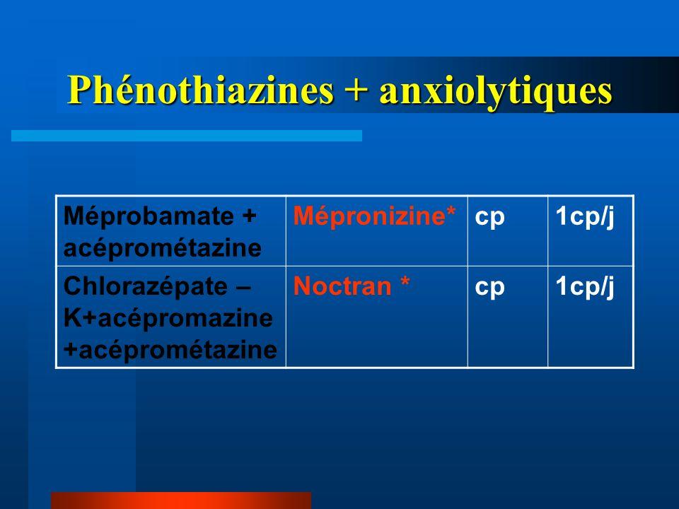 Phénothiazines + anxiolytiques