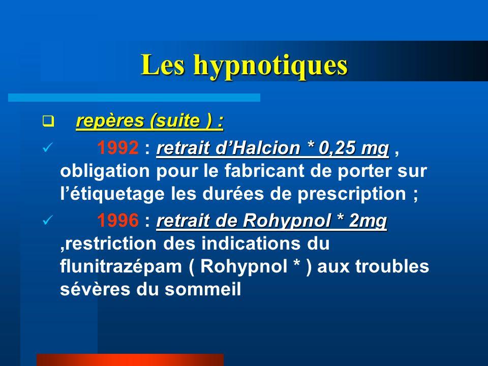 Les hypnotiques repères (suite ) :