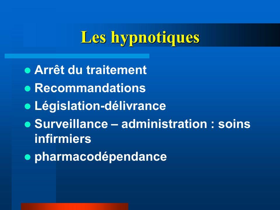 Les hypnotiques Arrêt du traitement Recommandations