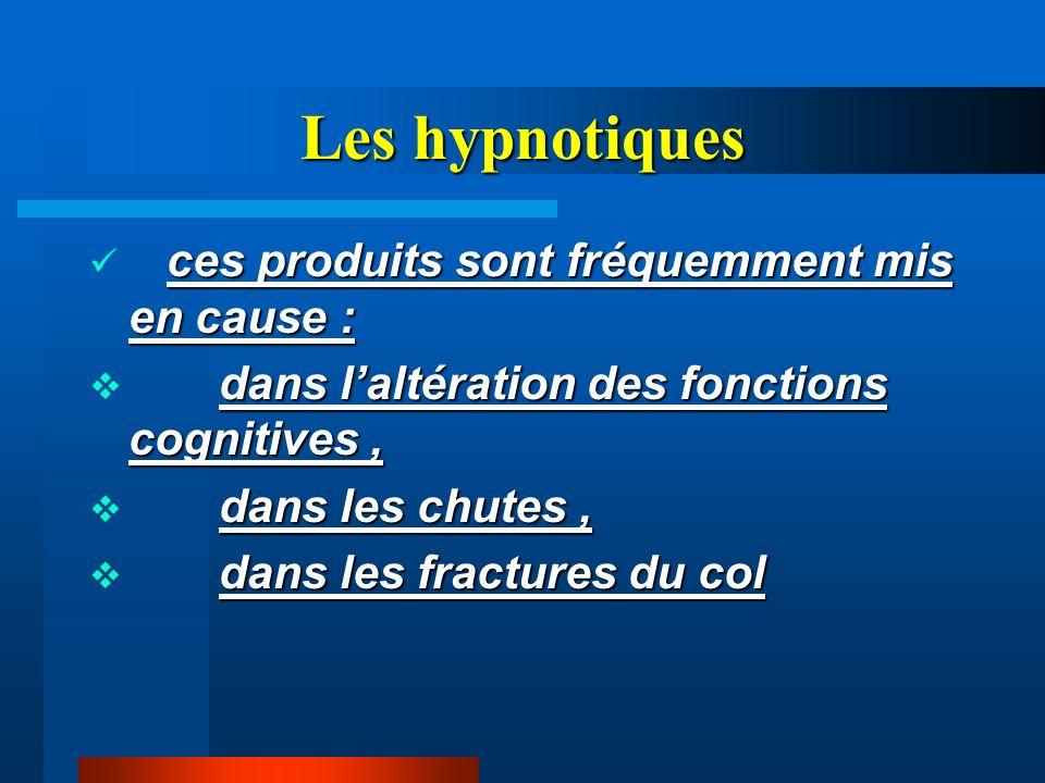 Les hypnotiques ces produits sont fréquemment mis en cause :