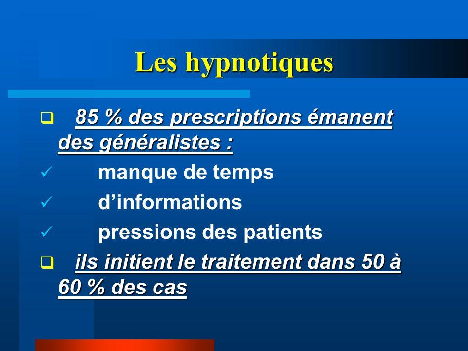 Les hypnotiques 85 % des prescriptions émanent des généralistes :
