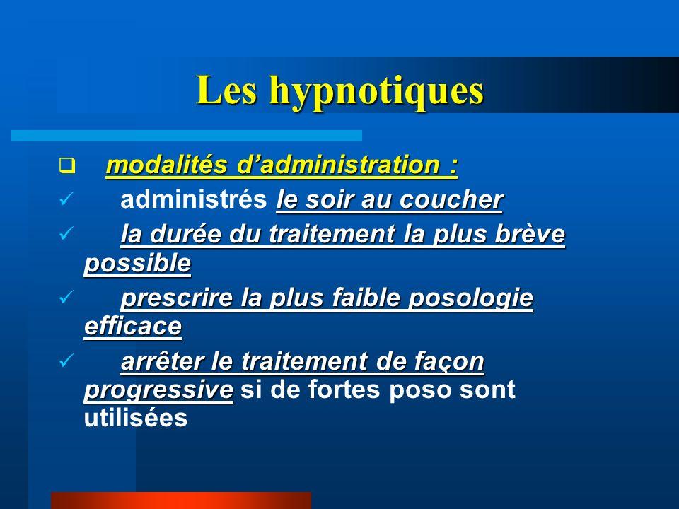 Les hypnotiques modalités d'administration :