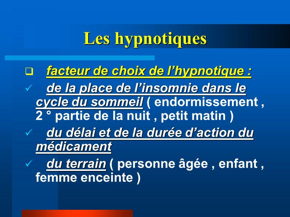 Les hypnotiques facteur de choix de l'hypnotique :