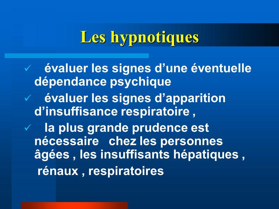 Les hypnotiques évaluer les signes d'une éventuelle dépendance psychique. évaluer les signes d'apparition d'insuffisance respiratoire ,
