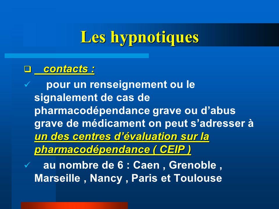 Les hypnotiques contacts :