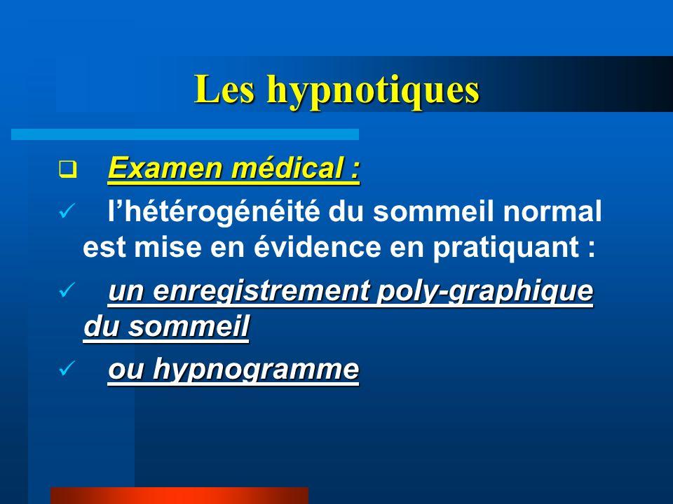 Les hypnotiques Examen médical :