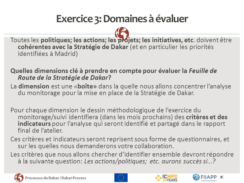 Exercice 3: Domaines à évaluer
