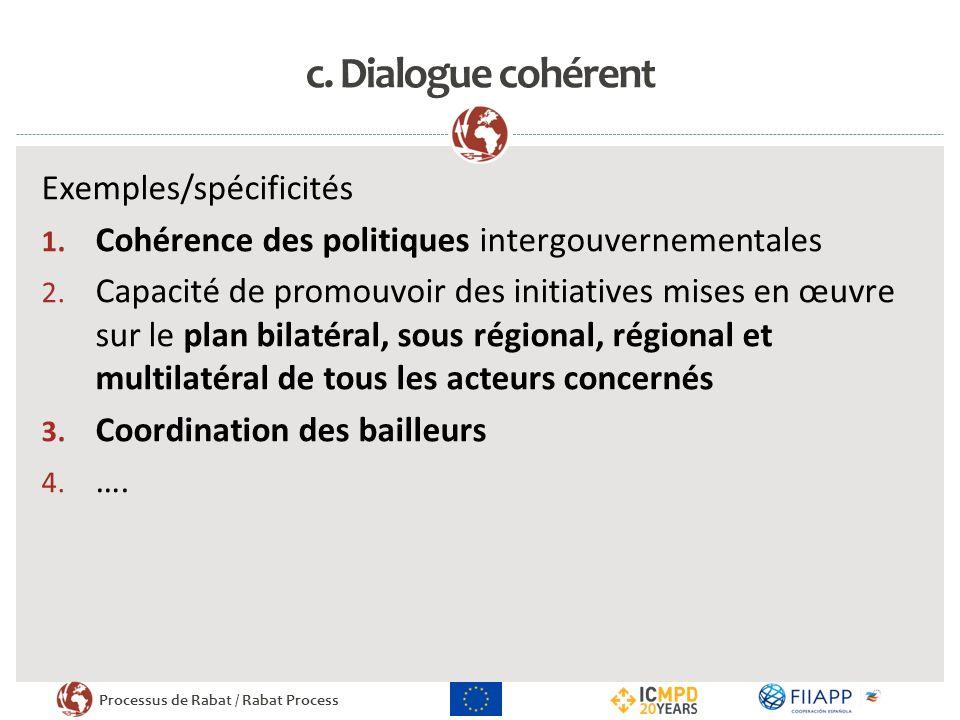 c. Dialogue cohérent Exemples/spécificités