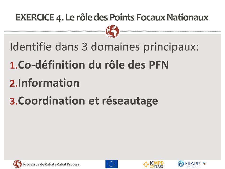 EXERCICE 4. Le rôle des Points Focaux Nationaux
