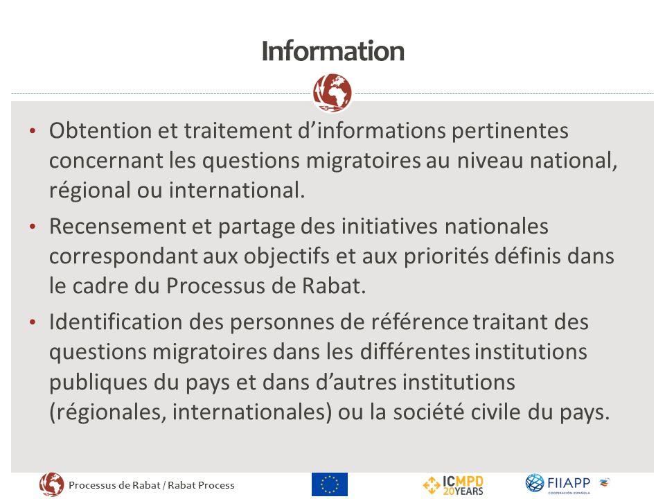 Information Obtention et traitement d'informations pertinentes concernant les questions migratoires au niveau national, régional ou international.