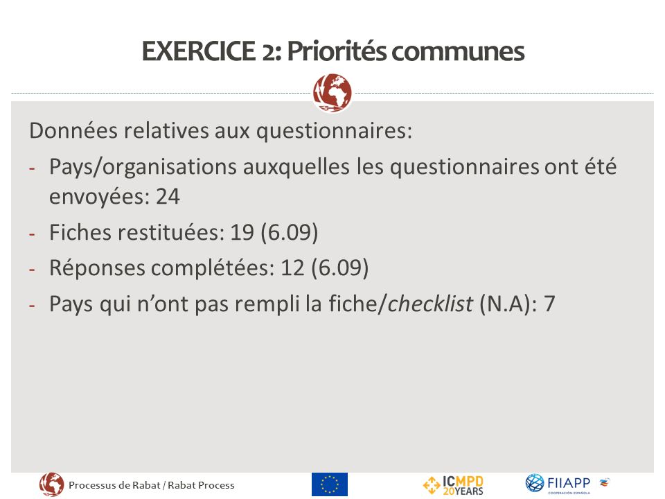 EXERCICE 2: Priorités communes