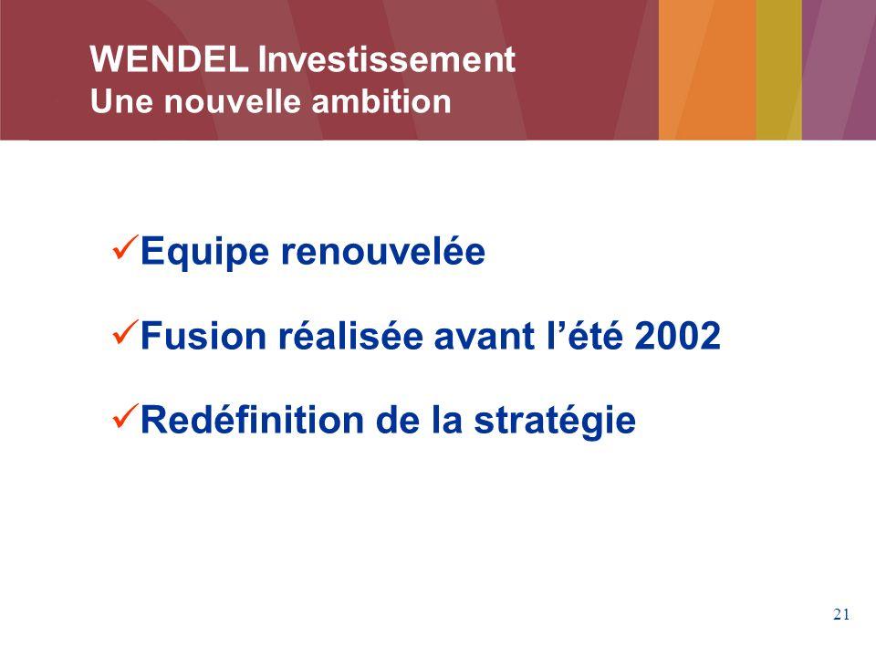 Fusion réalisée avant l'été 2002 Redéfinition de la stratégie