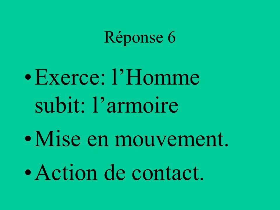 Exerce: l'Homme subit: l'armoire Mise en mouvement. Action de contact.