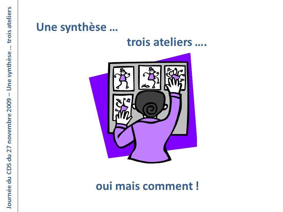 Journée du CDS du 27 novembre 2009 – Une synthèse … trois ateliers