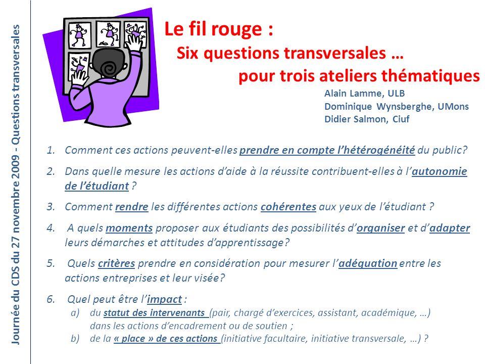 Journée du CDS du 27 novembre 2009 - Questions transversales