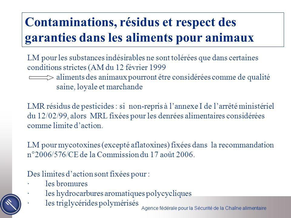 Contaminations, résidus et respect des garanties dans les aliments pour animaux