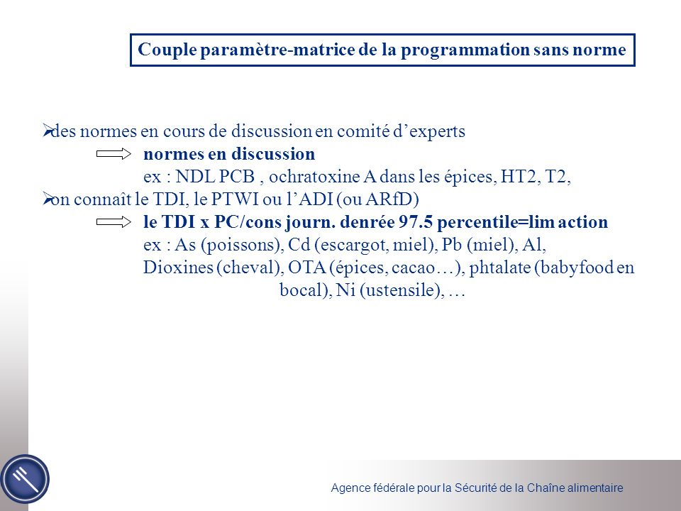 Couple paramètre-matrice de la programmation sans norme