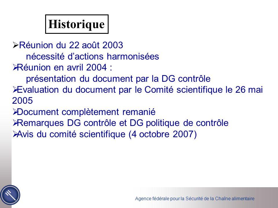 Historique Réunion du 22 août 2003 nécessité d'actions harmonisées
