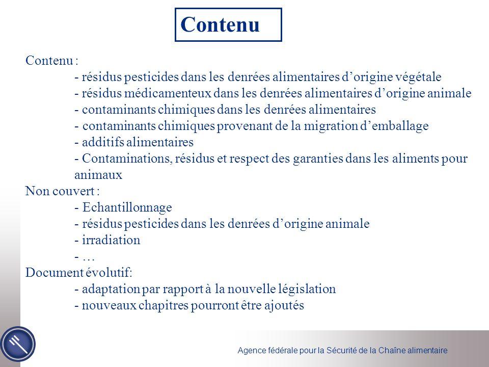 Contenu Contenu : - résidus pesticides dans les denrées alimentaires d'origine végétale.