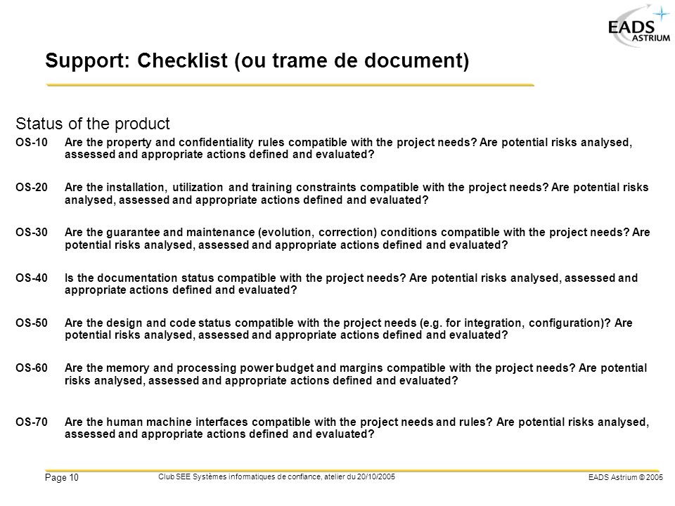 Support: Checklist (ou trame de document)