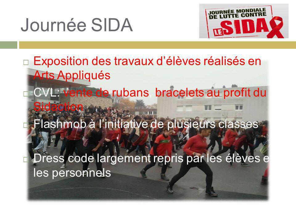 Journée SIDA Exposition des travaux d'élèves réalisés en Arts Appliqués. CVL: vente de rubans, bracelets au profit du Sidaction.