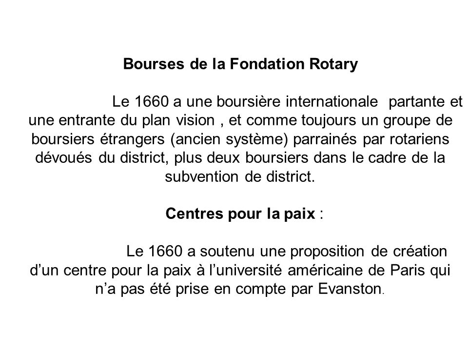 Bourses de la Fondation Rotary