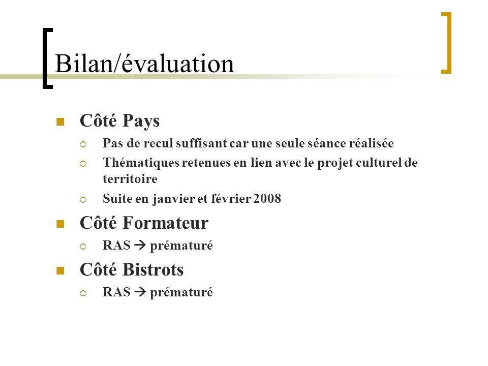 Bilan/évaluation Côté Pays Côté Formateur Côté Bistrots